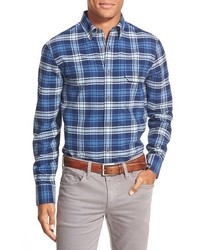 Blue Plaid Flannel Long Sleeve Shirt