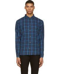 Marc by Marc Jacobs Blue Grey Plaid Flannel Shirt
