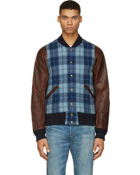 VISVIM Blue Plaid Leather Brainstorm Bomber