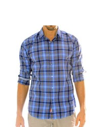 191 Unlimited Blue Plaid Cottonpolyester Shirt