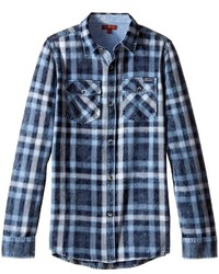 7 For All Mankind Kids Long Sleeve Button Up Plaid Flannel Shirt
