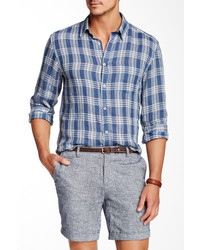 Benson New York Long Sleeve Plaid Linen Regular Fit Shirt