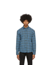 AMI Alexandre Mattiussi Blue And Black Checkered Shirt
