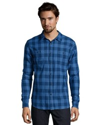 Jachs Blue And Grey Plaid Woven Flannel Button Front Shirt