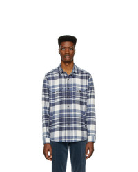 Ralph Lauren Purple Label Blue And Off White Flannel Shirt