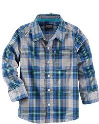 Osh Kosh Boys 4 8 Oshkosh Bgosh Woven Large Plaid Long Sleeve Button Down Shirt