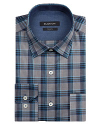 Bugatchi Classic Fit Houndstooth Plaid Button Up Shirt