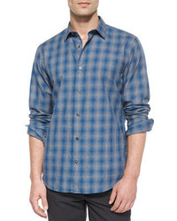 Vince Distorted Plaid Long Sleeve Shirt Blue