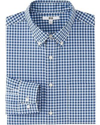 Uniqlo Extra Fine Cotton Broadcloth Checked Long Sleeve Shirt