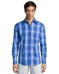 Robert Graham French Blue Plaid With Paisley Overlay Mcsorley Button Front Shirt