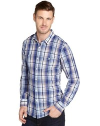 Jachs Blue And Whtie Plaid Cotton Long Sleeve Shirt