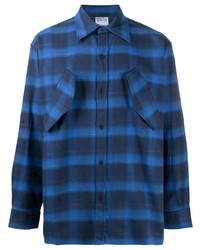 Marcelo Burlon County of Milan Logo Print Check Pattern Shirt