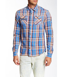Scotch & Soda Long Sleeve Woven Plaid Shirt