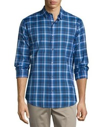 Vince Manhattan Plaid Long Sleeve Sport Shirt Vibrant Blue