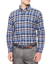 Peter Millar Milano Oxford Plaid Woven Sport Shirt Blue