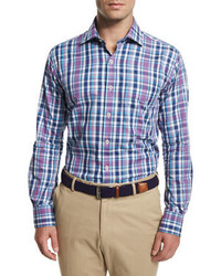 Peter Millar Multi Plaid Long Sleeve Sport Shirt Blue