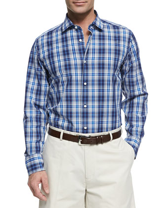 Neiman Marcus Plaid Button Down Shirt Blue | Where to buy & how to ...