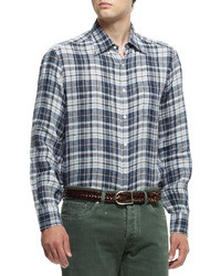 Brunello Cucinelli Plaid Button Down Shirt Brownblue