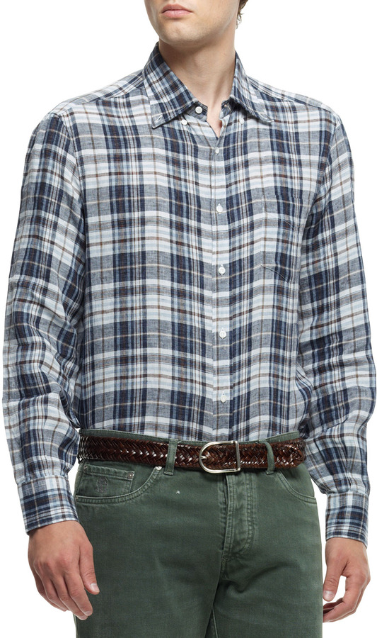 ... Brunello Cucinelli Plaid Button Down Shirt Brownblue ...