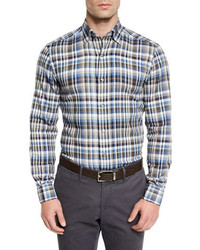 Plaid long sleeve sport shirt blue pattern medium 713317