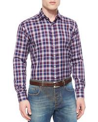 Etro Plaid Long Sleeve Sport Shirt Burgundynavy