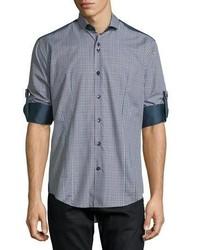 Bogosse Plaid Long Sleeve Sport Shirt Wsolid Panels Navy