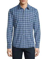 Plaid long sleeve woven shirt navy medium 610151