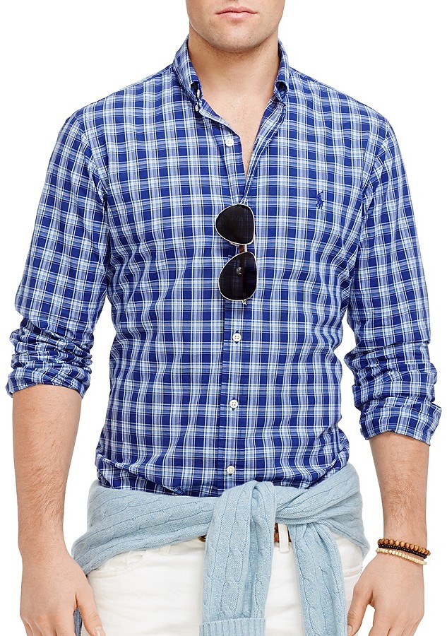 Polo Ralph Lauren Plaid Poplin Button Down Shirt Regular Fit ...
