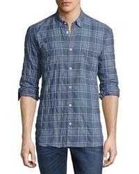 Billy Reid Randall Plaid Sport Shirt Blue