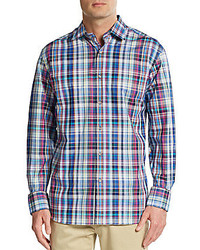 Saks Fifth Avenue Regular Fit Multicolored Plaid Cotton Sportshirt