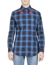 Givenchy Star Detail Plaid Button Down Shirt