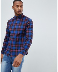 ASOS DESIGN Stretch Slim Check Shirt In Black And Blue