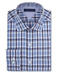 Tommy Hilfiger Slim Fit Blue Multi Plaid Dress Shirt