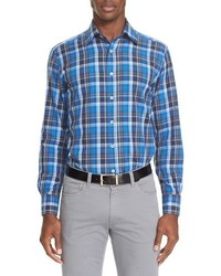 Canali Trim Fit Plaid Sport Shirt