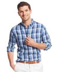 Tommy Hilfiger Yuma Plaid Linen Custom Fit Shirt