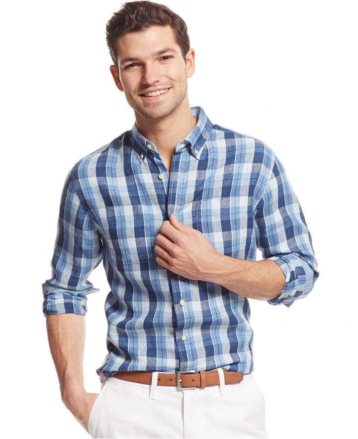 6dbfd436 Tommy Hilfiger Yuma Plaid Linen Custom Fit Shirt, $79 | Macy's ...