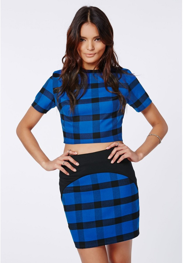 b9c728c2af Missguided Rose Check Curve Detail Mini Skirt Blue, $40 | Missguided |  Lookastic.com