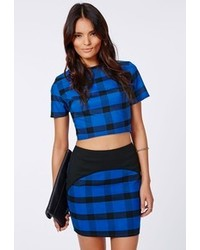 Missguided Rose Check Curve Detail Mini Skirt Blue