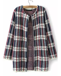 Plaid loose knit cardigan medium 145164