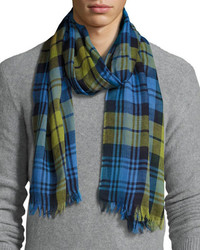 Begg Co Cottlea Plaid Cotton Linen Scarf Bluegreen
