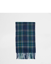 River Island Blue Plaid Check Tassel Scarf