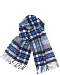 Cashmere plaid scarf w fringe bluewhitegray medium 349869