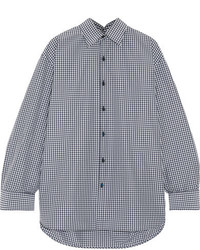 Balenciaga Oversized Checked Cotton Blend Poplin Shirt Navy