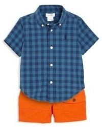 Ralph Lauren Babys Two Piece Plaid Shirt Shorts Set