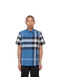 Burberry Blue Stretch Poplin Check Short Sleeve Shirt