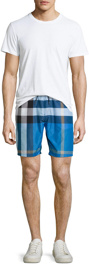 41cf7814bd3e8 Burberry Mid Length Check Swim Trunks Cerulean Blue, $295 | Neiman Marcus |  Lookastic.com