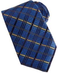 Satin diagonal plaid tie blue medium 163921
