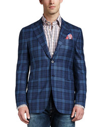 Blue Plaid Wool Blazer