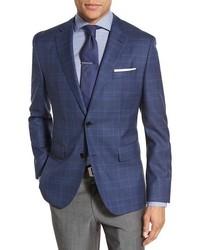 BOSS Jeen Trim Fit Plaid Wool Sport Coat