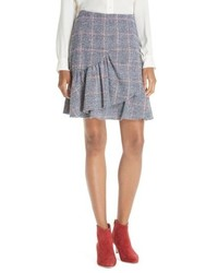 Rebecca Taylor Cotton Wool Blend Plaid Ruffle Mini Skirt